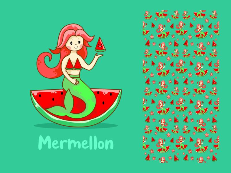 Mermellon graphic flat  design mermaid pattern digitalart vector draw design charakter cute illustration