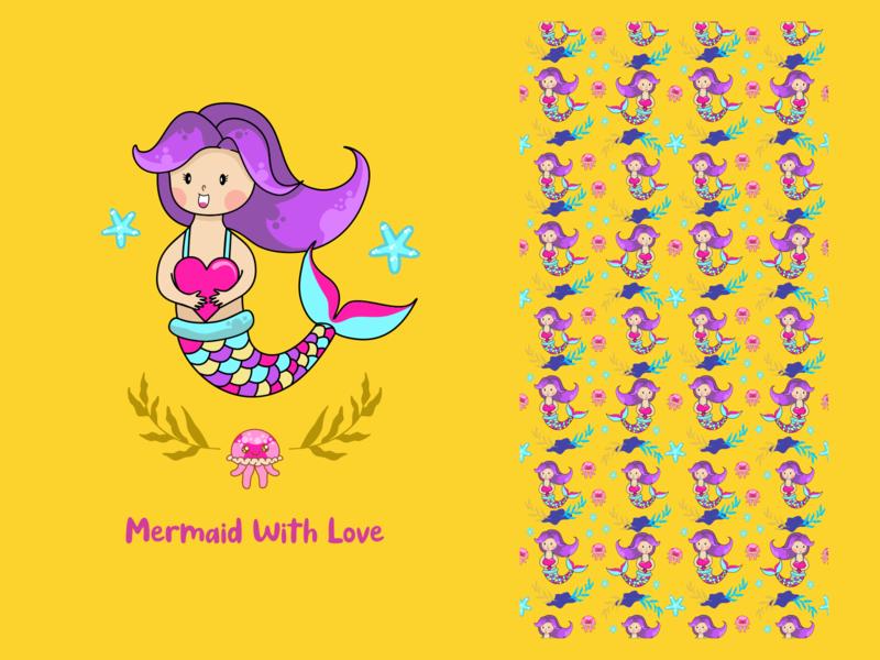 Mermaid with love funny illustration digitalart pattern tshirt design flat  design vector logo draw charakter cute illustration