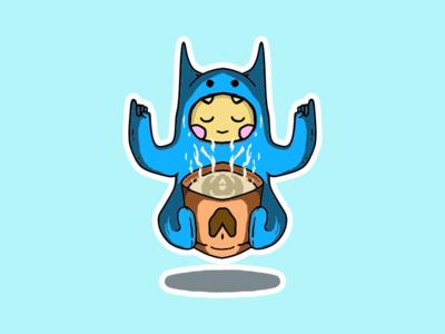 Coffee Meditation logo coffe cute icon illustration
