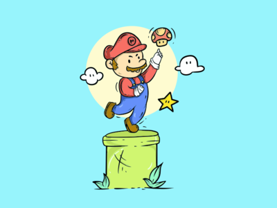 Mario vector design illustration cute game charakter nintendo mario