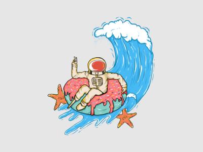 I Need Vacation To wacom digitalart tshirt design funny illustration graphic flat  design vector wave sea beach astronaut draw design charakter logo illustration