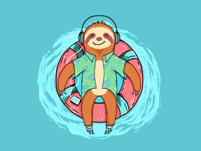 Sloth Vacation tshirt design vacation sloth flat  design funny illustration graphic branding digitalart beach vector draw design charakter logo cute illustration