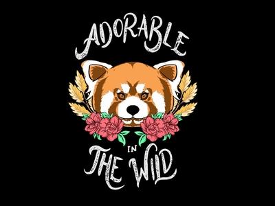 Adorable wildlife tshirt design panda red ui funny illustration flat  design draw vector beach digitalart typography design charakter logo cute illustration