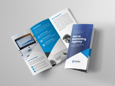 Trifold Brochure flyer blue abstract business minimalist design tri fold clean modern branding marketing us letter creative corporate professional web