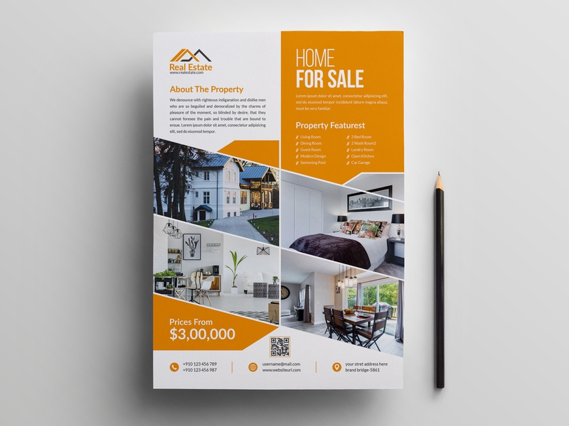 Real Estate Flyer real estate property flyer open newspaper negotiator mortgage marketing magazine loan lease leaflet house home agent agency advertising advertisement branding design flyer