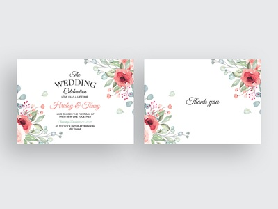 Watercolor Floral Wedding Invitation CardTemplate