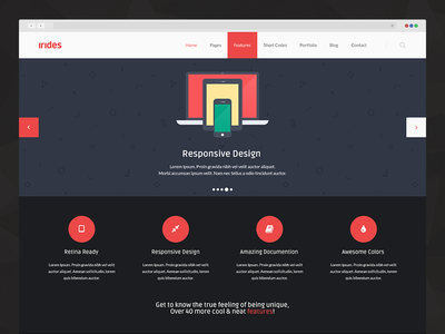 Irides - Homepage Preview irides theme homepage flat ui red dark light