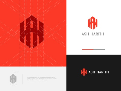 Ash Harith Branding Concept initial logo geometric pattern typography vector geometric logo vlogger identity design influence flat modern art type modern minimal logo branding