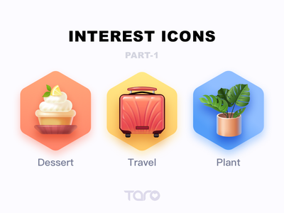 Interest Icons 1 monstera luggage graphic design cupcake vector app colorful food dessert plant travel flat ui illustration icon