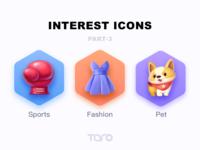 Interest Icons 3 interesting boxing fashion sports dress corgi pet dog graphic design illustration vector colorful ui icon flat app
