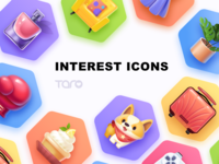 Interest Icons collection monstera sofa beauty plant perfume boxing dog luggage travel ui illustration colorful vector collection icon app flat