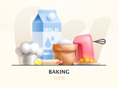 Ideal life - Baking hat mixer rolling pin lemon plate croissant milk flour bake illustration flat