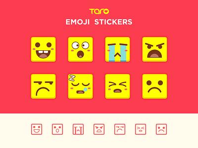 Emoji set worry sad boring moving despise face happy cute expression outline flat icon