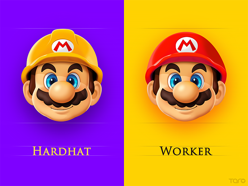Mario Character Card1 carton mascot hardhat work sticker emoticon icon game emoji illustration mario character
