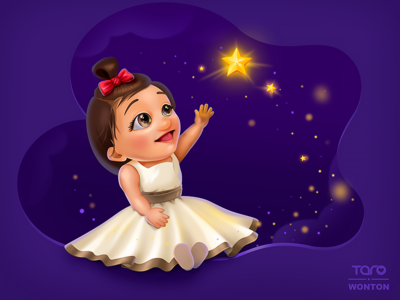 My girl  Have Its Owen Dream By Taro cute bubble character mascot digital art kid princess child girl figure baby mograph gif colorful cloud night purple dream star illustration