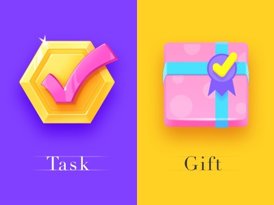 Two task icons icon artwork app mission win colorful lottery jackpot slot yellow pink check 3d game flat icon gift task