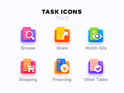 Task Icons By Taro app ui type icon illustration flat vector colorful task business automate