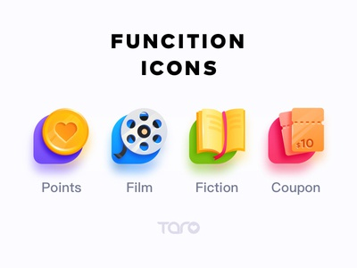 4 Function Icons jackpot casino lottery coupon point book fiction film colorful vector ui business automate icon flat app