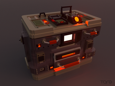 Voxel machine minecraft box low poly night neon 8bits experiment render magicavoxel cube 3d light metalic machine illustrator pixel voxel