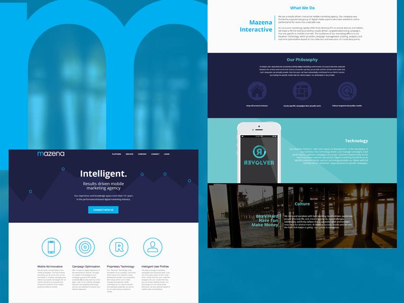 Mazena Site web web design ad agency homepage mobile site flat