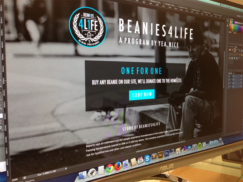 Beanies4Life monochrome cyan non profit charity one for one promotional landing page banner ad clothing hats yeanice