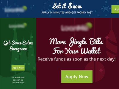 Holiday Ads christmas holiday puns banners ad money call to action illustration