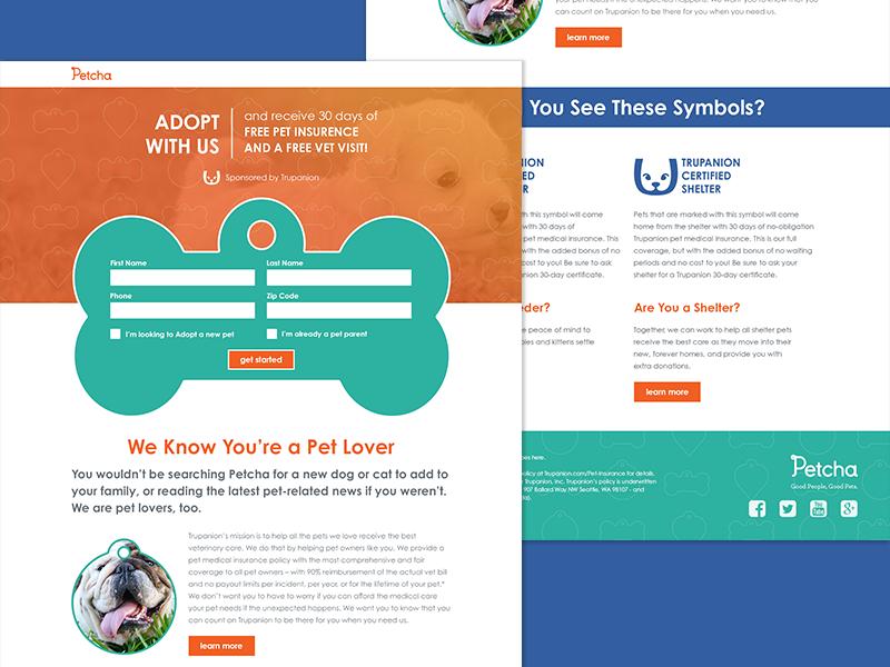 Petcha web design landing page dogs pets forms promotion