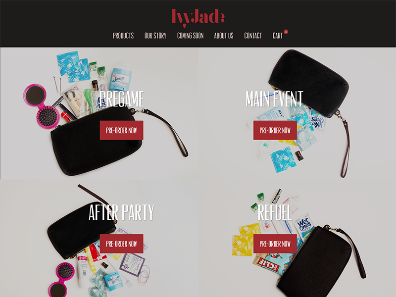 IvyJade Pre-Order Site bags website launch startup ecommerce web design