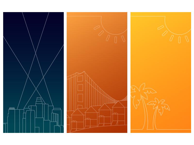 California Dreamin' california banner ads banner line art illustrator illustration