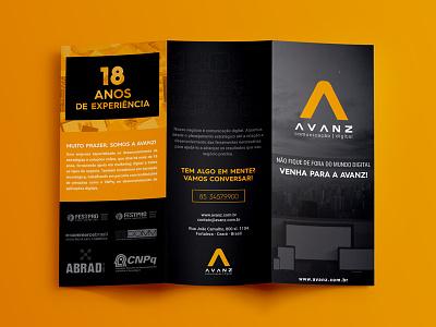 Avanz Trifold branding leaflet fold typography editorial trifold mockup brochure logo black orange clean