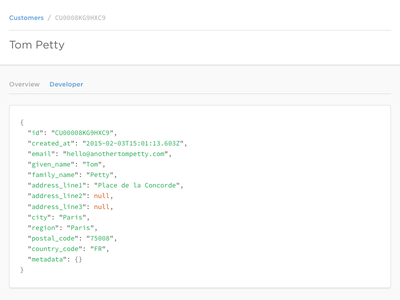 GoCardless Pro Developer Tools dashboard json ui ux syntax highlight tab developer code