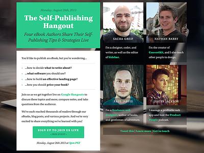 The Self-Publishing Hangout kepler photos blur avatars landing page