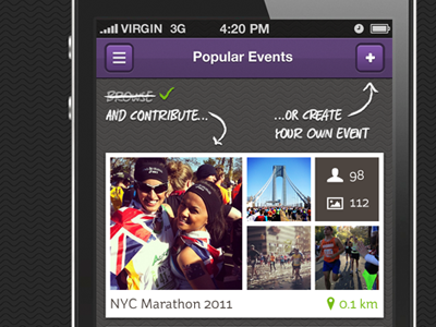 Popular Events markerfield iphone photos thumbnails button