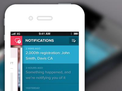 Notifications proxima nova soft iphone mobile slide menu