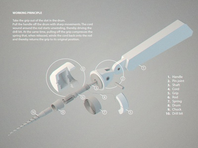 'Rotation' mechanical hand drill (concept)