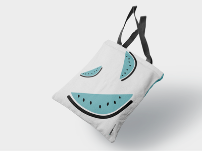 Digital drawing - Pastèque bleue summer blue watermelon minimalist vector bag design freelance design illustration print abstract fun drawing clean