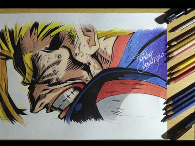 Toshinori Yagi - Drawing and process plus ultra process shonen handmade sketches epic colorful superhero comic anime art fanart my hero academia drawing hero one for all yagi toshinori
