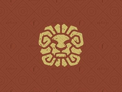 Ancient Lion Logo for sale branding stone artisan crafts history legendary native square culture logo paint glyph deity god tribe hieroglyph sun ancient lion