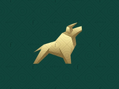 Rising Bull Logo - Alternative version sculpture for sale branding geometric fighting money currency strong growth appreciation rise logo real estate market craft paper realty trading rising bull
