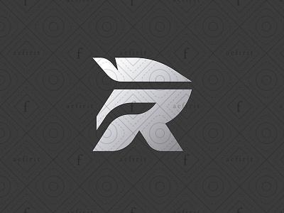 Spartan R Logo for sale branding minimalist stylized golden history elegant culture warrior logo gladiator simple modern helmet letter r