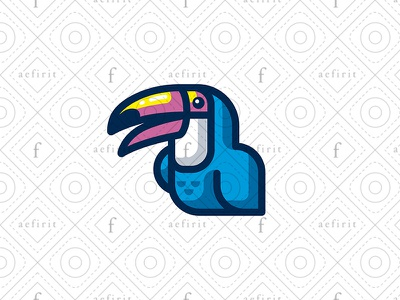 Colorful Toucan Logo for sale branding art character painting printing studio creative smiling cheerful logo eco mascot media modern simple colorful bird parrot toucan