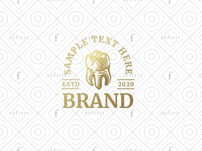 Vintage Dentistry Logo for sale branding dental dentist care elegant style sketchy stylized classic logo vintage sketch drawing handmade odontology dentistry teeth molar tooth