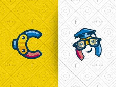 Educational Letter C Mascot Logo for sale branding colorful mechanical hand robot pincers friendly professor math logo science school character smart toys mascot letter educational