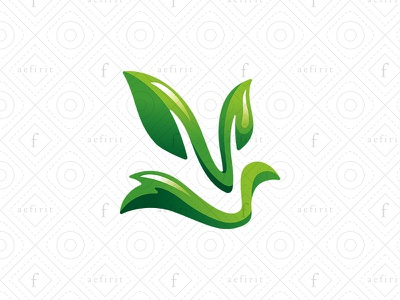 Green Fox Logo bird swam dove for sale branding nutrition diet nature grass simple logo abstract plant eco healthy ecological leaf leaves green fox