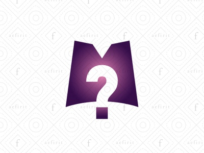 Mysterious Letter M Logo for sale branding curiosity shopping bag box gift negative space minimalist enigma logo abstract secret question mark simple modern mystery mysterious letter m