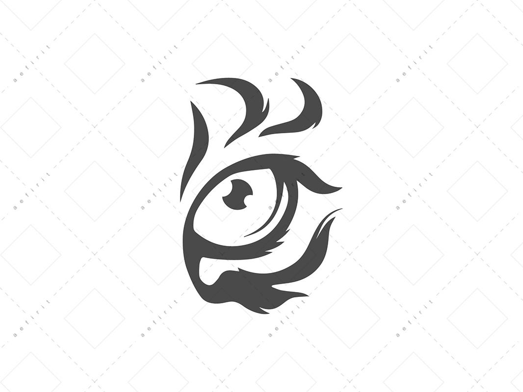 S Tiger Eye Logo paint brush artistic energetic cat wild elegant animal art design vector illustration logo eye tiger