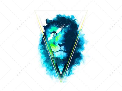 Cosmic Lion Nitrous colorful space animal nitrous paint art digital illustration cosmos cosmic lion