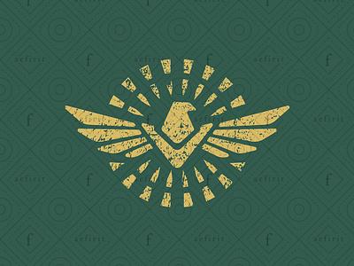 Ancient Bird Logo D mosaic identity brand forces army military hieroglyph glyph fashion culture civilization sky feathers wings sun animal hawk eagle bird ancient