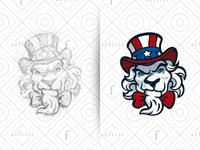 Lion Sam Logo - Sketch sketch for sale branding baseball usa character head creative gamer hat logo gaming sports esports patriotism world war mascot uncle sam lion sam lion