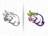 Bull Gaming Logo - Purple Version tournament challenger beast purple for sale branding battle head creative wild powerful logo gamer furious team esports sport mascot gaming bull